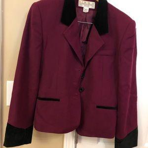 Wool and velvet women's skirt suit